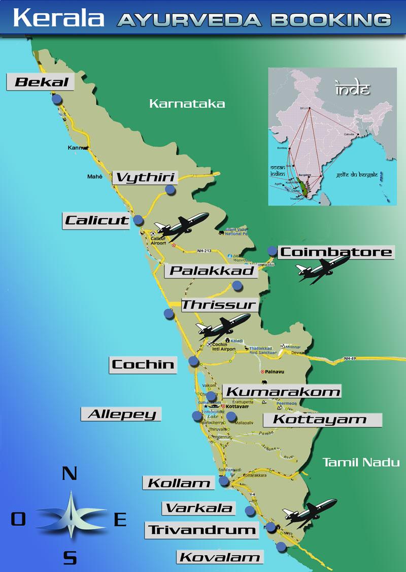 Carte Du Sud Est De Linde.Ayurveda Voyages Kerala